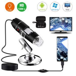 Einstellbares digitales 1600X 2MP 1080P 8 LED-Mikroskop Typ C / Micro USB-Lupe elektronisches Stereo-USB-Endoskop für mobile PCs