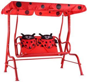 GOPLUS Hollywoodschaukel Kinderschaukel Gartenschaukel Doppelschaukel Schaukelbank Gartenbank mit Sonnendach (Rot)
