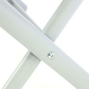 VCM klappbarer Alu Hocker Sitzhocker Rahmen hellgrau Textilene schwarz Klapphocker Schwarz