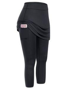 Damen gefälschter zweiteiliger Taschen-Yoga-Tennisrock,Farbe: Schwarz,Größe:XXL