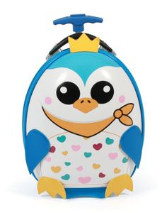 Kinder-Trolley, Hartschale, Pinguin-Motiv, 40 cm, 12 Liter, blau