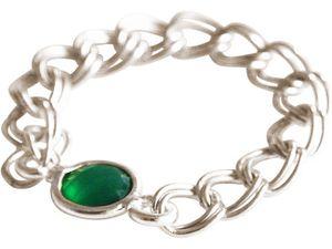 Damen Ring 925 Silber Smaragd Grün Beweglich Geschmeidig