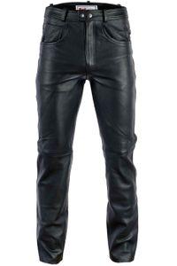 Herren Lederhose lederjeans bikerjeans jeans hose aus echtleder Schwarz und Braun, Größe:52/L, Farbe:Schwarz