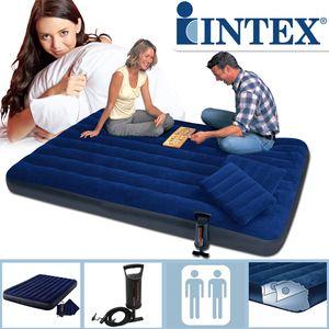 Intex 64765 Classic Downy Blue Queen Set mit Pumpe und Kissen