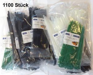 Kabelbinder Set insgesamt 1100 Stück in 5 Größen, Industriequalität, teilweise wiederverschließbar, UV-Beständig, hohe Zugfestigkeit