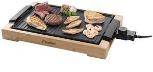 Bestron Teppanyaki Grillplatte mit Bambusgehäuse, Elektrischer Tischgrill mit Antihaftbeschichtung, 2.000 Watt, Schwarz
