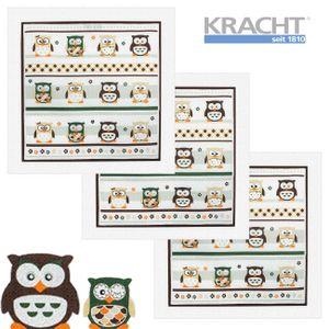 3er Pack Kracht Frottiertuch Eule - Küchentuch - 100% Baumwolle