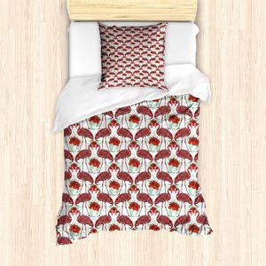 ABAKUHAUS Flamingo Bettbezug Set für Einzelbetten, Künstlerische Blumenvögel, Milbensicher Allergiker geeignet mit Kissenbezug, Meeresgrün Korallenrot Rot