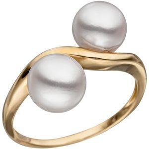 JOBO Damen Ring 56mm 585 Gold Gelbgold 2 Akoya Perlen Perlenring Goldring