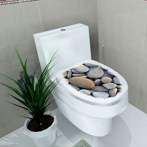 Multi Style WC Sitz Wandaufkleber Vinyl Art DIY Badezimmer Decals Decor Kieselsteine Art-Deco-Stil Wandtattoo 32 cm * 39 cm