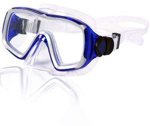 AQUAZON NIZZA hochwertige Schnorchelbrille, Taucherbrille, Schwimmbrille, Tauchmaske für Erwachsene, Senior size, Tempered Glas, Antibeschlag, Silikon, sehr robust, Farbe:blau transparent