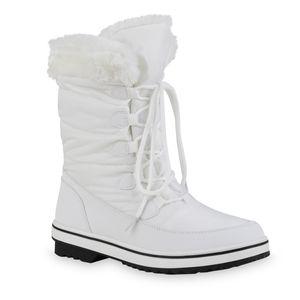 Giralin Damen Warm Gefütterte Winter Boots Stiefeletten Kunstfell Schuhe 836366, Farbe: Weiß, Größe: 39