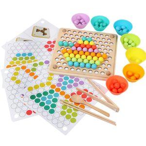 Montessori Spielzeug für Kleinkind Bunte Perlen Holz Clip Ball Spiel Kinder Lernspiel Interaktives Spielzeug