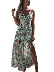 Damen Beach Blumendruck Boho Chiffon Ärmelloses Maxikleid Sommerlanges Kleid,Farbe: grün,Größe:L