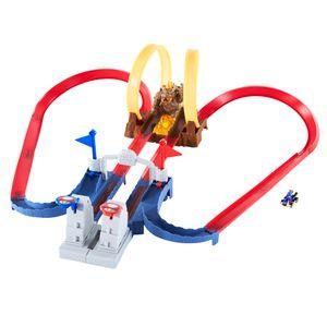 Hot Wheels Mario Kart Bowsers Festung Track-Set inkl. Spielzeugauto, Autorennbahn