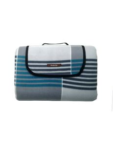 RAIKOU Picknickdecke Campingdecke Fleece 200x200 cm Wärmeisoliert Wasserdicht Grün/Grau Quadrate