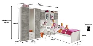 Jugendzimmer Naomi 4-teilig weiß / grau B 317 cm inkl Kleiderschrank + Jugendbett + Schreibtisch + Regal + Bettkasten Jugendzimmer
