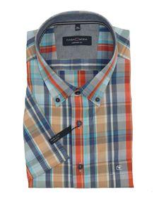 Kariertes Kurzarm-Hemd mit Brusttasche von Casa Moda, blau orange, Größe:7XL