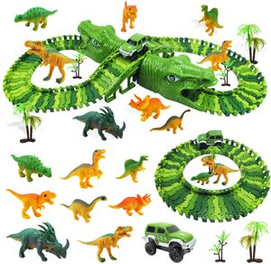 Dinosaurier Rennstrecken-Set, Rennbahn für Kinder ab 3 Jahren, Autobahn mit 153 Stücke/8 Dinosaurier/Rennauto, Tracks Bahn Biegbar, Geschenk für Jungen oder Mädchen
