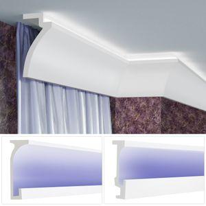 LED Gardinenblenden aus Polyurethan- lichtundurchlässig, leicht und schlagzäh - Tesori Gardinen Stuckleisten, Menge:2 Meter / 1 Leiste, Alle Modelle:KF802 - 120 x 100 mm