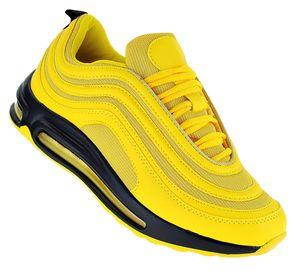 Neon Turnschuhe Schuhe Sneaker Boots Sportschuhe Luftpolstersohle Herren 089, Schuhgröße:42, Farbe:Gelb