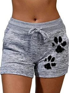 ydance Damen Sport Katzentatze Strandshorts Hot Pants Sweatshorts Yoga Shorts,Farbe:Hellgrau,Größe:XXL