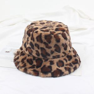 Frauen Winter Bucket Hat Vintage Kunstpelz Leopardenmuster Fluffy Fisherman Hat Warme Fuzzy Caps