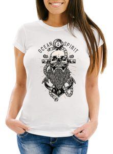 Damen T-Shirt Skull Captain Anker Totenkopf Bart Kapitän Ocean Spirit Slim Fit Neverless® weiß S