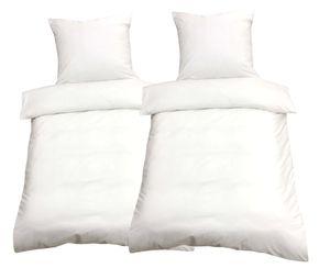 Bettwäsche 135x200 + 80x80 cm Baumwolle Renforce weiß Uni mit Reißverschluss, 4-tlg