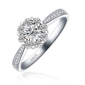 edler Damen-Ring mit Zirkonia Stein, Verlobungsring, Solitär-Ring, 925 Sterling Silber Autiga® silber 58 - Ø 18,50 mm