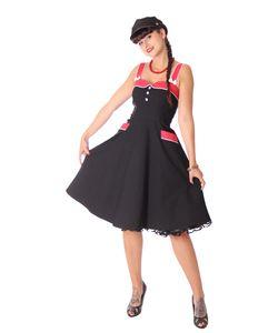 Kahira 50er retro Polka Dots Petticoat Kleid v. SugarShock, Größe: M, Farbe: Schwarz