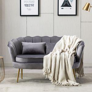 Samt Loveseat Doppelcouch 2-Sitzer Sofa Zeitgenössisches Gepolsterter mit Goldenen Metallbeinen für Wohnzimmer, Schlafzimmer, Home Office, Empfan