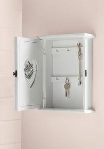 Schlüsselkasten 'Silver Heart', Landhausstil, praktischer Ordnungshelfer, Holz