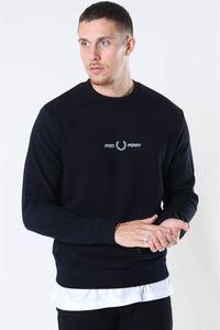 Herren Pullover Fred Perry Sweatshirt Logo Langarm schwarz  Größe L