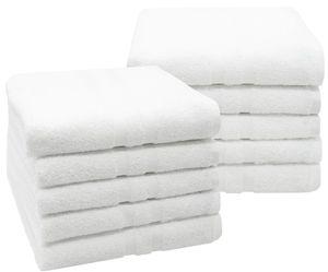 10er Set Handtücher, 50x100 cm, 100% Baumwolle, weiß