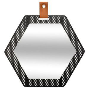 Dekospiegel MONA im sechseckigen Rahmen, schwarz