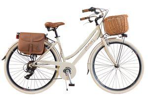 Via Veneto by Canellini Fahrrad Citybike Frau Aluminium mit Korb und Tasche - Beige 46