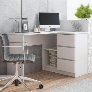 Selsey Eckschreibtisch GERANIO - Schreibtisch in Weiß mit 2 Fächern und 3 Schubladen