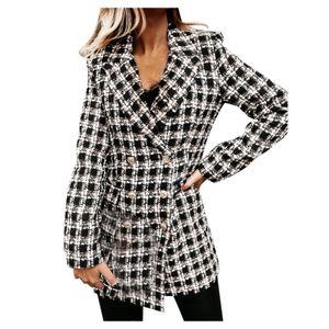 Damen Langarm Anzug Kragen Zweireihige Wolljacke Größe:XL,Farbe:Grau