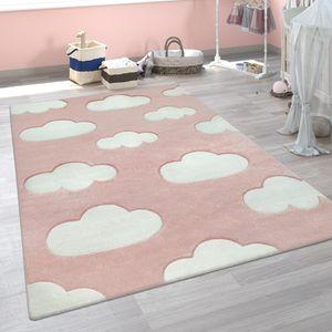 Kinder Teppich Weiß Rosa Kinderzimmer Pastellfarben Wolken Design Kurzflor 3-D, Grösse:120x170 cm