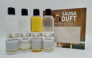 Saunaaufguss 4 x 250ml - Allgäuer Bergkräuter, Eukalyptus, Portugiesische Orange, Saunamedizin - das exklusive Set von Dufte Momente in attraktiver Umverpackung