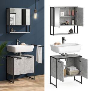 Vicco Loft Badmöbel Set Fyrk Beton Spiegelschrank mit Ablage Waschtischunterschrank