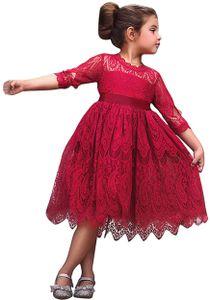 Mädchen Rundhals Halber Ärmel Kleider Vintage Spitze Tüll Hochzeit Festlich Party Elegant Abendkleid Ballkleid 6-7 Jahre Gr.116-122 Farbe: Rot
