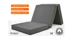 Klappmatratze TRAVEL ✔ 90x200x12cm ✔ Erwachsene ✔ Kinder ✔ anthrazit ✔  Germany ✔  shogazi ® Manufaktur