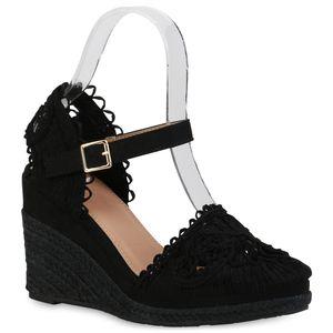Giralin Damen Sandaletten Keilsandaletten Stickereien Bast Spitze Schuhe 836590, Farbe: Schwarz, Größe: 40