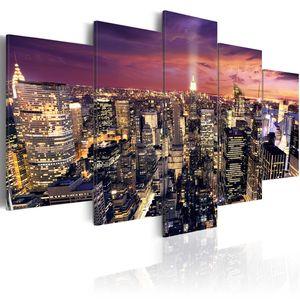Modernes Wandbild d-B-0013-b-n (200x100 cm) - 5 Teilig Bilder Fotografie auf Vlies Leinwand Foto Bild Dekoration Wand Bilder Kunstdruck NEW YORK CITY NYC STADT BEI NACHT