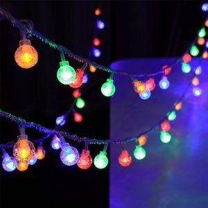 3m LED Kristall Kugel Lichterkette Batteriebetrieben Home Party Weihnachtsbeleuchtung Dekoration, Bunt