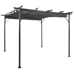 Outdoor Pergola für Kletterpflanzen Rosenpavillon,Rankhilfe Dekor Rankpavillon mit Ausziehbarem Dach Anthrazit 3x3 m Stahl 180 g/m²💎8452