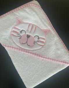 Babyhandtuch Kapuzenhandtuch 70x70 cm rosa weiß Katze