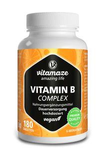 Vitamin B-Komplex hochdosiert, alle 8 B-Vitamine, 180 vegane Tabletten für 6 Monate